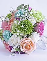 Bouquets de Noiva Redondo Rosas Buquês Casamento Festa / noite Cetim Flôr Seca