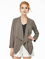NAKED ZEBRA   Women's Casual Street chic JacketsSolid Shirt Collar Long Sleeve Spring Beige / Black Rayon