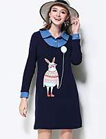 MEIDONGTAI Women's Plus Size / Casual/Daily Simple Shift DressAnimal Print / Patchwork Shirt Collar Above Knee Long Sleeve Blue Cotton / Polyester