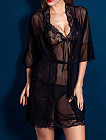 Women Ultra Sexy Nightwear,Lace Solid-Thin Polyester Fuchsia Purple Black
