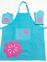 3pcs High Quality Cotton Apron & Pot Holder & Oven Mitt For Cooking Utensils / Bread / Chocolate / Cake / Meat / Pizza (Gift box packing)