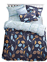 Mingjie Wonderful Dark Blue Leaves Bedding Sets 4PCS for Twin Full Queen King Size from China Contian 1 Duvet Cover 1 Flatsheet 2 Pillowcases