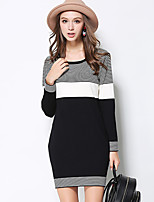 MEIDONGTAI Women's Casual/Daily Simple Shift Dress Striped Round Neck Midi Long Sleeve Black Rayon / Polyester Fall / Winter Mid Rise Stretchy Medium