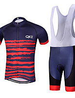 QKI Tigre Pro Cycling Jersey with Bib Shorts Men's Short Sleeve BikeBreathable / Quick Dry/Anatomic Design/reflective stripe/5D coolmax gel pad