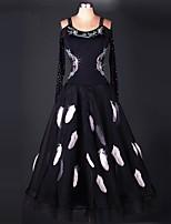 Dança de Salão Vestidos Actuação Elastano Organza Cristal/Strass Pano Paetês 1 Peça Manga Comprida Alto Vestidos S-XXXL: 120-130