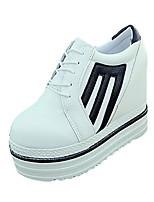 Черный Белый-Женский-Повседневный-Полиуретан-На плоской подошве-Удобная обувь-Ботинки