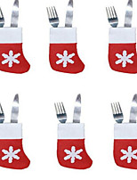 6PCS Christmas Socks Cutlery Tray Little Socks