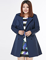 MsShe Women's Casual/Daily Simple CoatSolid Notch Lapel Long Sleeve Winter Blue / Red Cotton / Polyester