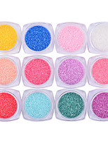 12Boxs Candy Coral Stone Nail Art Powder Decorations DIY UV Gel Nail Dust Manicure Tools