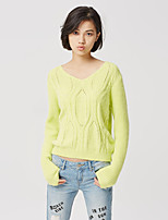 Metersbonwe Women's Casual/Daily Street chic Regular PulloverSolid Yellow V Neck Long Sleeve Nylon Fall Medium Inelastic
