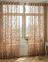 One Panel Curtain European , Leaf Living Room Poly / Cotton Blend Material Sheer Curtains Shades Home Decoration For Window
