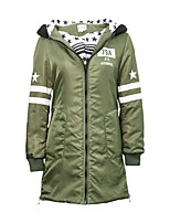 Metersbonwe Women's Long Padded CoatStreet chic Casual/Daily Striped-Polyester Polypropylene Long Sleeve Hooded Green