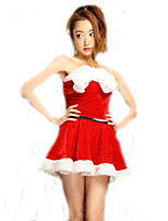 Cosplay Costumes Santa Suits Movie Cosplay Red Solid Dress Christmas Female Polyester