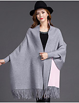 Women's Casual/Daily Simple Long Cloak / Capes,Solid Blue Red Brown Gray Sleeveless Polyester Fall Medium Micro-elastic
