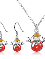 Women's Fashion Euramerican Style Christmas Snowman Necklace 1 Pairs of Earrings 2 times