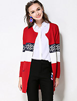 Women's Plus Size Casual/Daily Vintage Long Cardigan,Color Block Red Black Round Neck Long Sleeve Rayon Polyester Fall Winter Thick