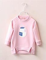 Girl Casual/Daily Solid Hoodie & Sweatshirt,Cotton Fall Long Sleeve