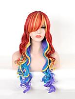 onduladas cor mista perucas sintéticas longa cosplay das mulheres bonitas