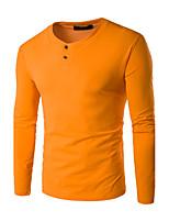 Hombre Simple Casual/Diario / Tallas Grandes Otoño / Invierno Camiseta,Escote Redondo Un Color Manga Larga AlgodónRojo / Blanco / Negro /