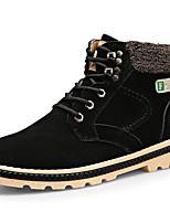 Men's Boots Fall / Winter Comfort PU Casual Flat Heel Lace-up Black / Blue / Yellow Walking