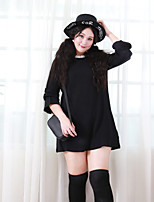Nininiu  Women's Plus Size / Casual/Daily Simple Loose DressSolid Round Neck Above Knee Long Sleeve Black Rabbit Fur / Acrylic Winter Mid Rise