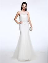 Lanting Bride® 트럼펫 / 머메이드 웨딩 드레스 코트 트레인 보트넥 레이스 / 튤 와 비즈