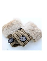 (NOTE - BEAN PASTE) MS IMITATION RABBIT HAIR IN WINTER TO KEEP WARM FINGERLESS WOOLEN GLOVES