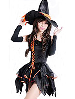 Cosplay Costumes Wizard/Witch Movie Cosplay Black Solid Dress / Hats Halloween / Carnival Female Polyester