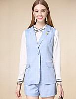 Damen Solide Einfach Arbeit Jacke,Herbst Gekerbtes Revers Ärmellos Blau Mittel Polyester