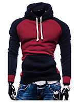 Hot Sale Men's Casual/Daily Simple Regular HoodiesColor Block Blue / Red Hooded Long Sleeve Polyester Winter / Autumn Thick Micro-elastic