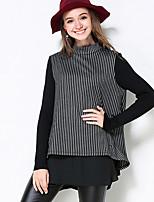 Damen Gestreift Einfach Lässig/Alltäglich / Übergröße T-shirt Herbst Langarm Schwarz Polyester Mittel