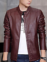 Men's Plus Size / Casual/Daily Simple Leather Jackets,Solid Long Sleeve Red / Black / Brown PU
