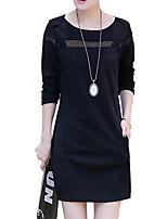 Damen Etuikleid Kleid-Ausgehen / Lässig/Alltäglich Street Schick Patchwork Rundhalsausschnitt Übers Knie Langarm Schwarz / GrauBaumwolle