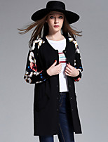 MEIDONGTAI Women's Plus Size / Casual/Daily Street chic JacketsFloral Round Neck Long Sleeve Fall / Winter Black Rayon / Polyester / Nylon / Spandex