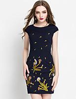 Женский На каждый день / Большие размеры Шинуазери (китайский стиль) Оболочка Платье Вышивка,Круглый вырез Выше коленаС короткими