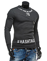 Men's Casual/Daily Sports Active Simple Sweatshirt Letter Round Neck Micro-elastic Cotton Long Sleeve Spring