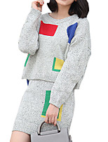 Women's Going out / Casual/Daily Simple Fall / Winter Set Skirt Suits,Geometric Crew Neck Long Sleeve White / Gray Cotton Opaque / Medium