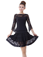 Latin Dance Outfits Women's Training Milk Fiber Cascading Ruffle / Lace 2 Pieces Black / Red Latin Dance Dresses