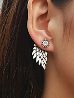Women's Retro Angel Wings Zircon Earrings Alloy Feather Stud Earrings 1 pair
