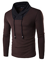 Men's Casual/Daily / Work / Sports Simple / Active Regular Pullover,Color Block Red / Black / Brown V Neck Long Sleeve CottonSpring /