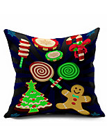 Merry Christmas Series Cartoon Cotton Linen Throw Pillow Case Home Decorative Reindeer Cushion Cover Pillowcase(Set of 1)