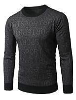 Herren Standard Pullover-Übergröße Einfach Solide Grau Rundhalsausschnitt Langarm Polyester Herbst / Winter Dick Mikro-elastisch