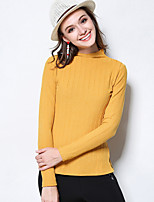 MEIDONGTAI Women's Plus Size / Casual/Daily Simple Regular PulloverSolid Black / Yellow High Neck Long Sleeve Polyester / Spandex Fall / Winter