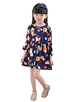 Girl's Casual/Daily Solid Dress,Chiffon Summer Long Sleeve