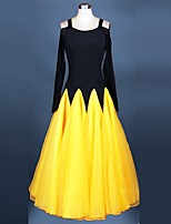 Ballroom Dance Dresses Performance Spandex / Organza Draped / Lace 1 Piece Long Sleeve High Dress