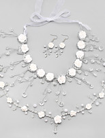 Jewelry Necklaces Bridal Jewelry Sets Crystal / Imitation Pearl Tassels Wedding 1set Women White Wedding Gifts