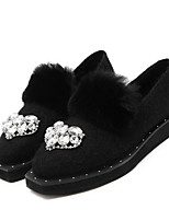 Women's Loafers & Slip-Ons Winter Others Fur Casual Flat Heel Black Gray