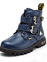 Boy's Boots Winter Other PU Casual Flat Heel Buckle Black Blue Brown