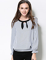 MEIDONGTAI Women's Plus Size / Casual/Daily Simple Fall T-shirtStriped Round Neck Long Sleeve Gray Polyester Medium