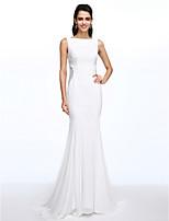 Lanting Bride® Syrena Suknia ślubna Tren w stylu sądowym Bateau Szyfon z Guziki / Koronka